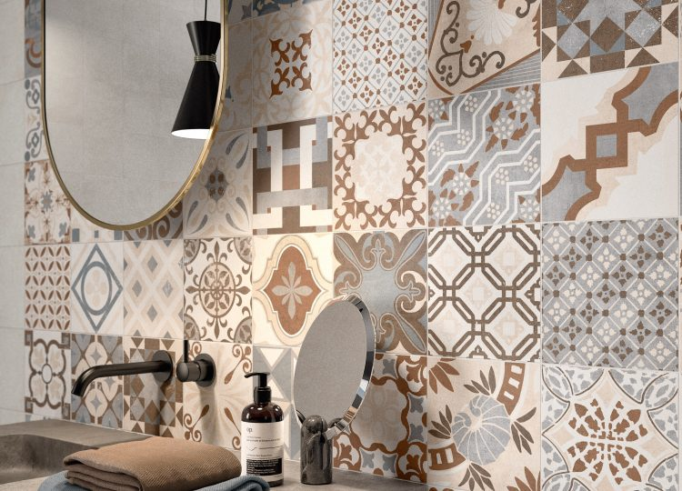 Ambienti Badezimmer beige multicolor Fliesen im Mosaikformat