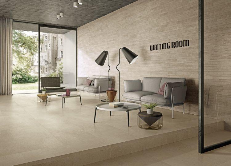 Ambienti Wohnzimmer beige Fliesen in Beton-/Steinoptik