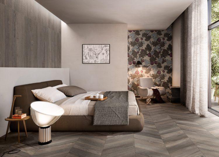 Ambienti Schlafzimmer tortora-chevron Fliesen in Holzoptik