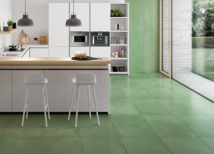 Ambienti Küche grüne Fliesen